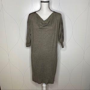 LOFT lace detail sweater dress brown Medium